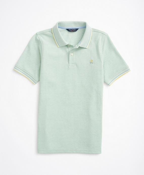 Boys Cotton Oxford Pique Polo Shirt Green