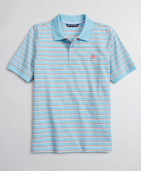 Boys Cotton Pique Double Stripe Polo Shirt Blue