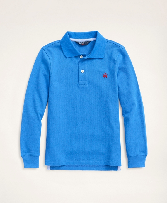 Boys Long-Sleeve Performance Pique Polo Shirt Blue
