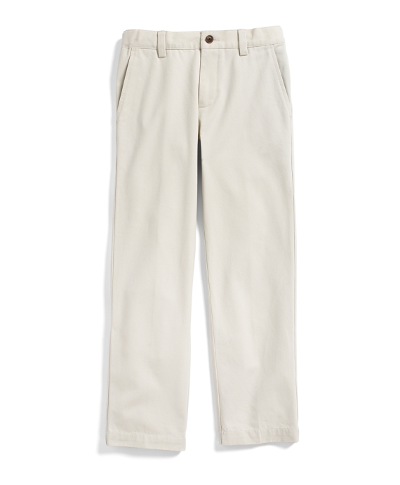 Boys Plain-Front Washed Chinos Light Beige