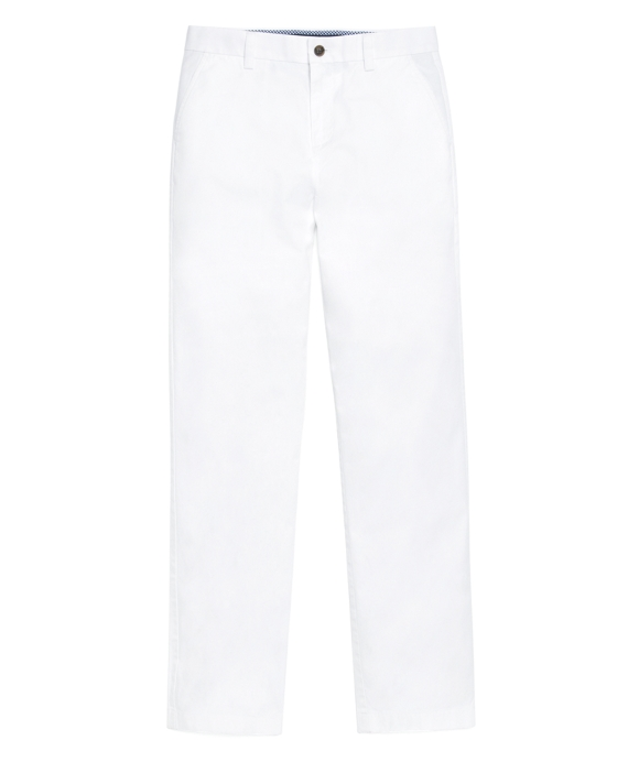 Boys Plain-Front Washed Chinos White