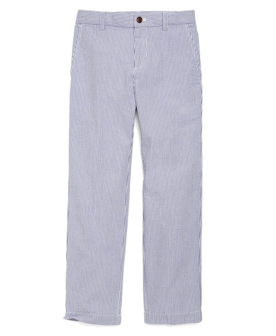 Boys Plain-Front Seersucker Pants Blue