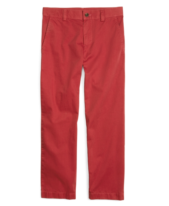 Boys Garment Dyed Plain-Front Chinos Red