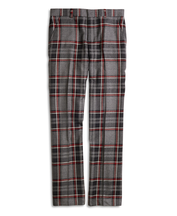 Boys Flat-Front Plaid Wool Suit Trousers Charcoal