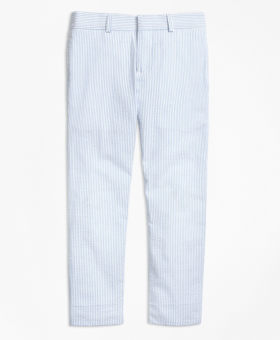 Boys Seersucker Prep Suit Trousers Light Blue