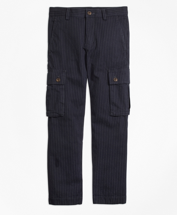 Boys Pinstripe Cargo Pants Navy