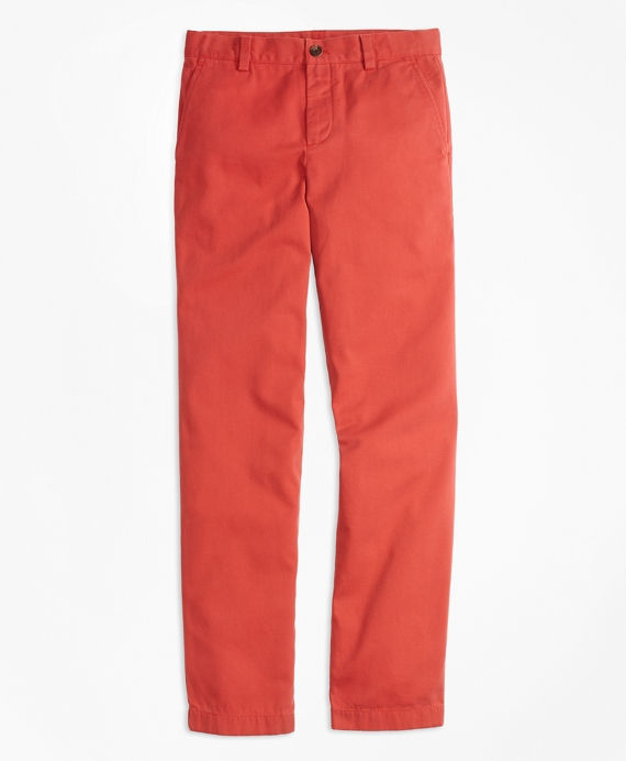 Boys Washed Cotton Stretch Chinos Red