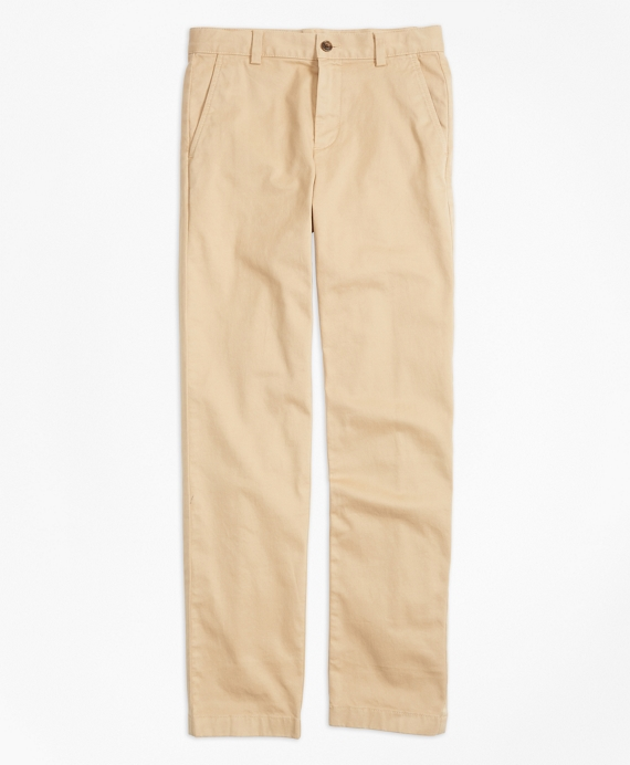 Boys Washed Cotton Stretch Chinos Khaki