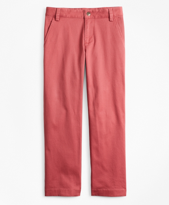 Boys Washed Cotton Stretch Chinos Brick