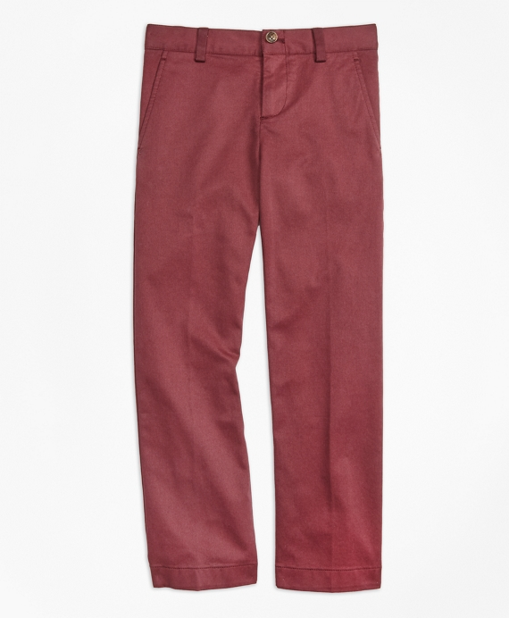 Boys Washed Cotton Stretch Chinos Burgundy