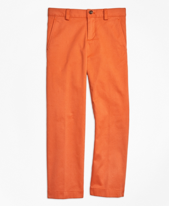 Boys Washed Cotton Stretch Chinos Orange