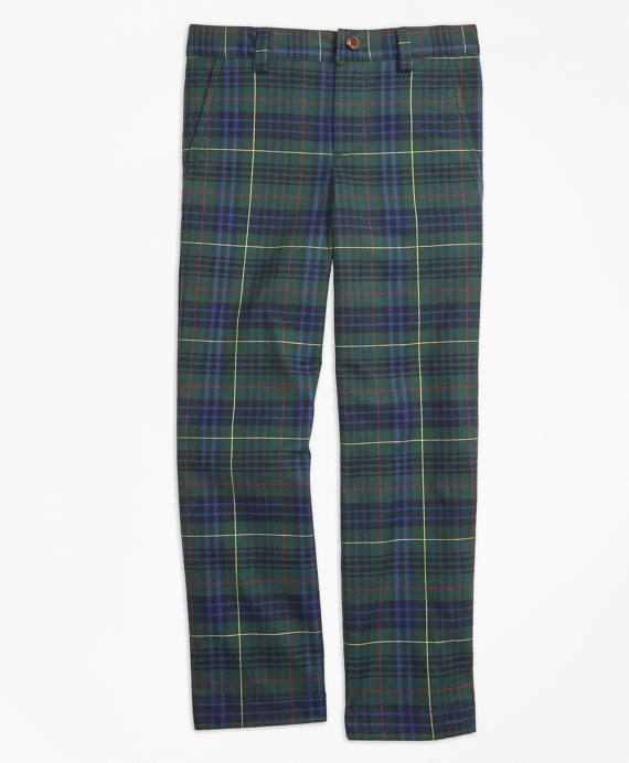 Boys Stewart Hunting Plaid Twill Pants Green-Navy