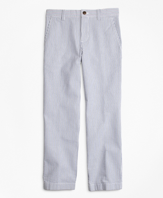 Boys Seersucker Pants Blue-White