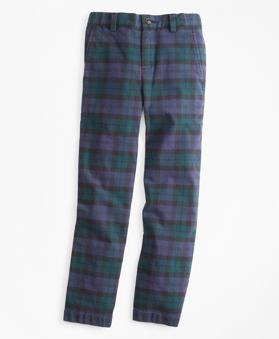 Boys Stretch Cotton-Blend Black Watch Pants Green-Navy