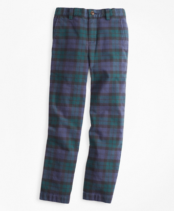 Boys Stretch Cotton-Blend Black Watch Pants