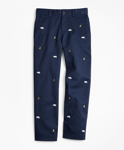 Boys Cotton-Blend Embroidered Pants