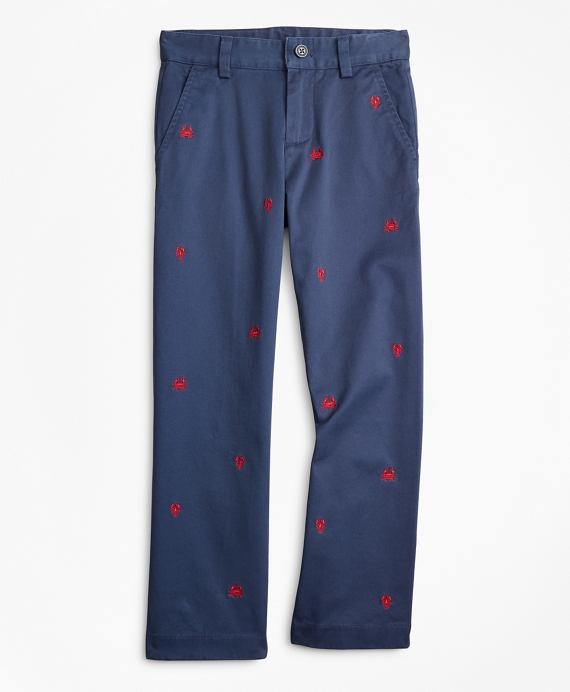 Boys Washed Cotton Embroidered Stretch Chinos Navy