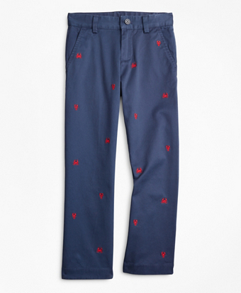 Boys Washed Cotton Embroidered Stretch Chinos