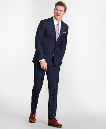 BrooksGate™Milano-Fit Windowpane Wool Twill Suit Separates