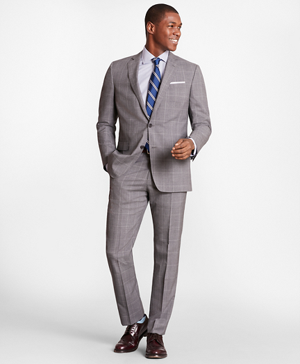 BrooksGate™ Regent-Fit Windowpane Wool Suit Separates