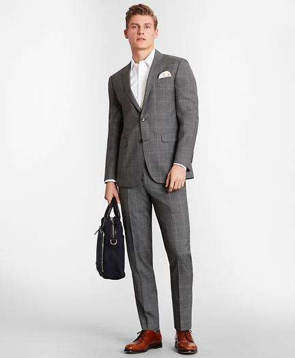 BrooksGate™ Milano-Fit Windowpane Wool Suit Separates