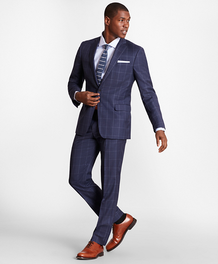 BrooksGate™ Regent-Fit Windowpane Wool Twill Suit Separates