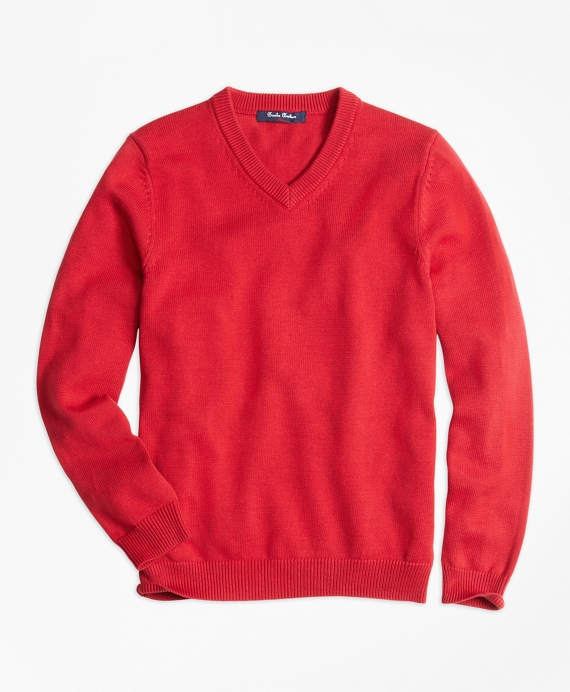 Boys V-Neck Sweater Red