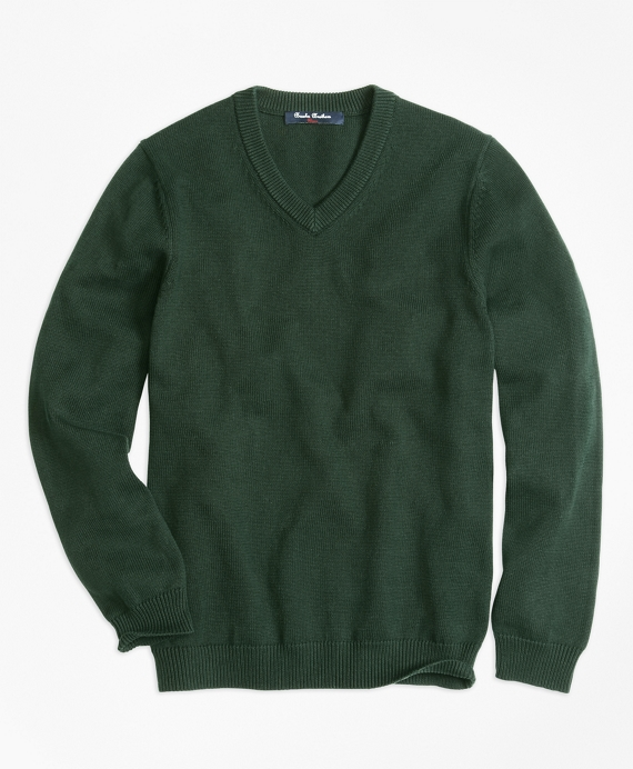 Boys V-Neck Sweater Hunter Green
