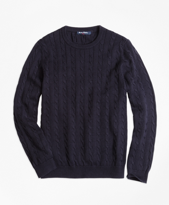 Boys Crewneck Cable Sweater Navy