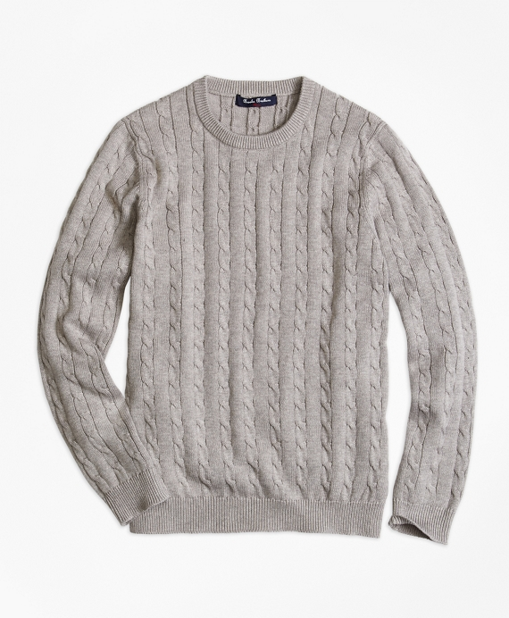 Boys Crewneck Cable Sweater Grey