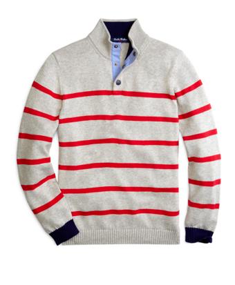 Supima® Cotton Stripe Mockneck Sweater