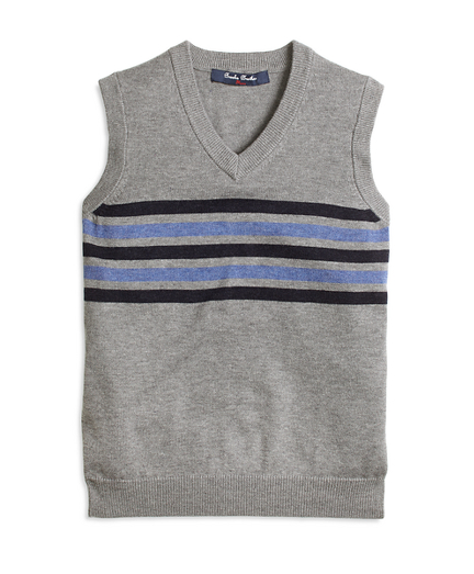 Boys Cotton and Wool Chest Stripe Vest