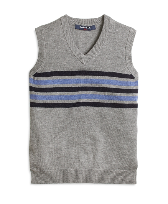 Boys Cotton and Wool Chest Stripe Vest Grey