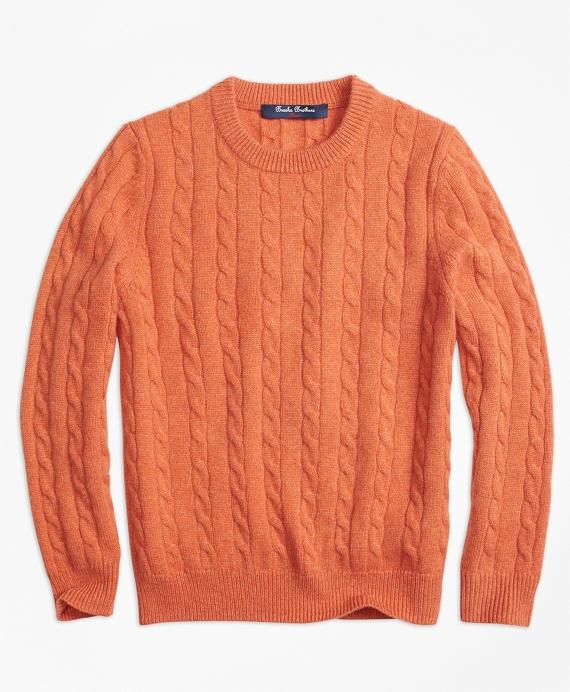 Boys Orange Cashmere Cable Knit Crewneck Sweater Brooks Brothers