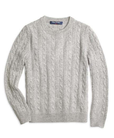 Boys Cashmere Cable Crewneck Sweater