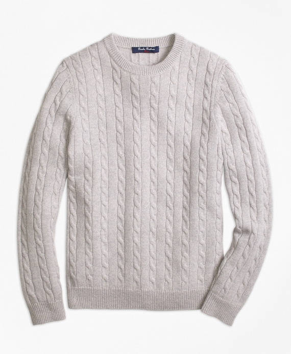 Boys Cashmere Cable Crewneck Sweater Grey