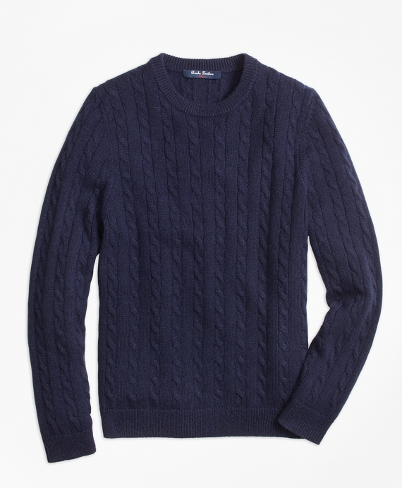 Boys Cashmere Cable Crewneck Sweater Navy