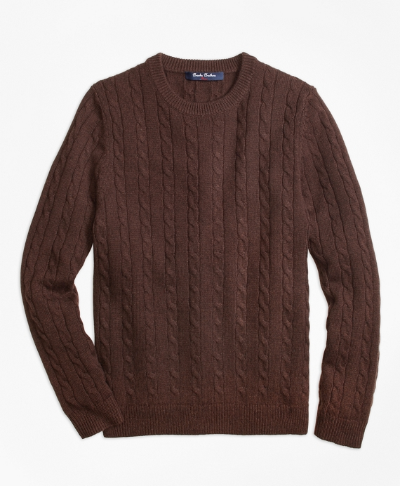 Boys Cashmere Cable Crewneck Sweater Brown