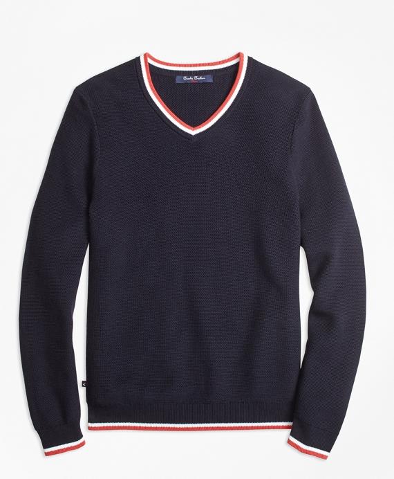 Boys Supima® Cotton Tipped V-Neck Sweater Navy