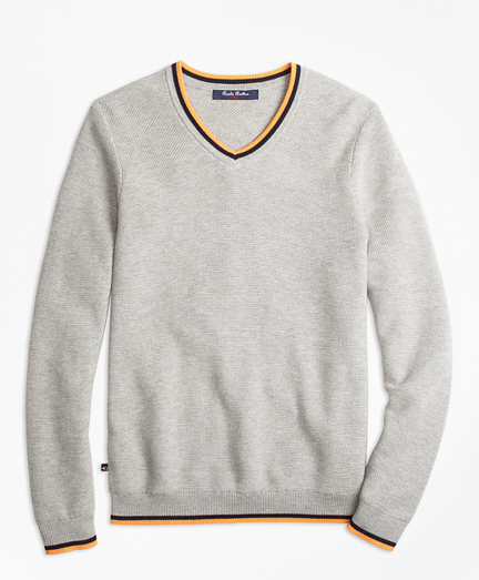 Boys Supima® Cotton Tipped V-Neck Sweater