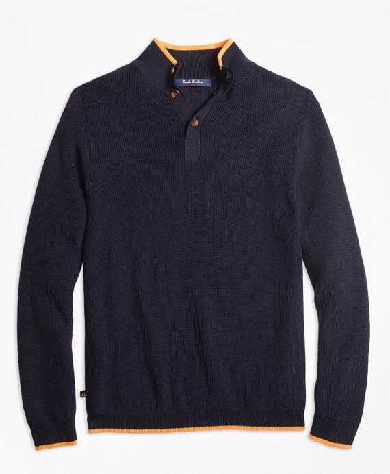 Boys Supima® Cotton Mockneck Sweater Navy