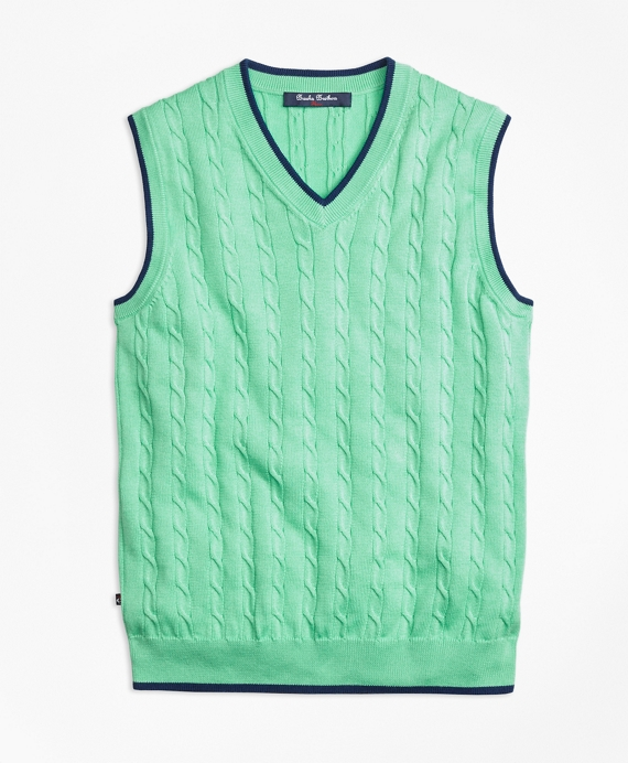 Boys Supima® Cotton Cable Tipped Vest Light Green