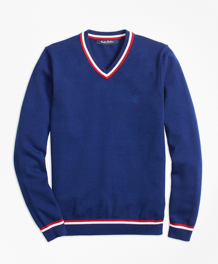 Boys Cotton Tipped V-Neck Sweater