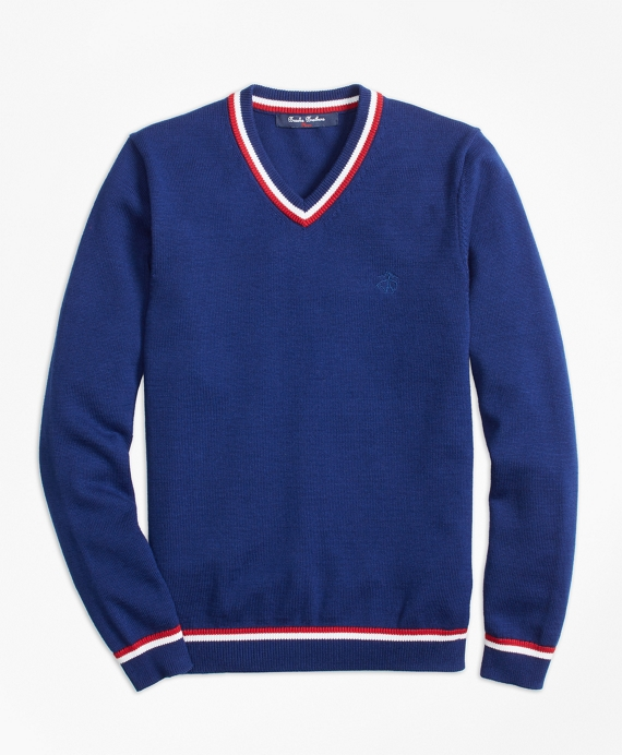 Boys Cotton Tipped V-Neck Sweater Dark Blue
