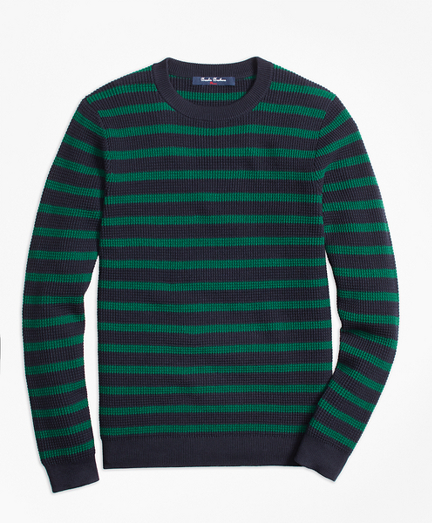 Boys Cotton Waffle Stitch Stripe Crewneck Sweater
