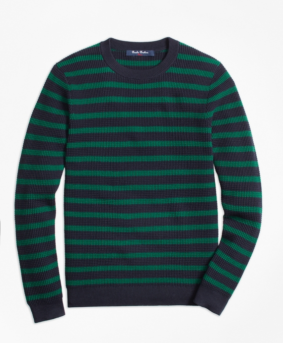 Boys Cotton Waffle Stitch Stripe Crewneck Sweater Navy-Green