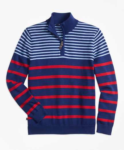Boys Cotton Alternate Stripe Half-Zip Sweater