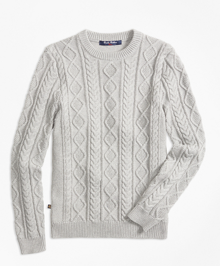 Boys Aran Cable Crewneck Sweater