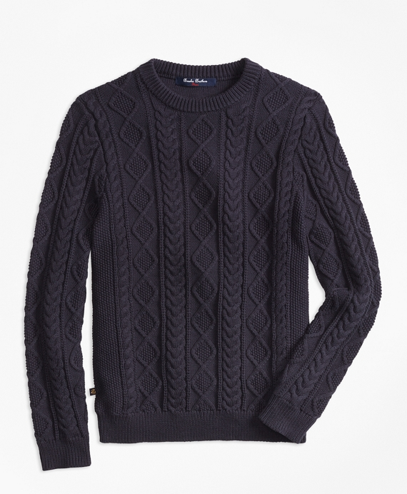 Boys Aran Cable Crewneck Sweater Navy