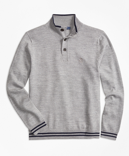 Boys Merino Wool Tipped Mockneck Sweater